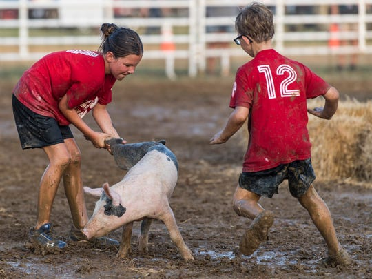 Children take part in a contest to catch a pig at a county fair in Kentucky in 2017. A California fair is replacing the pigs in the traditional contest with watermelons, over animal welfare concerns.