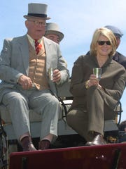 "George ""Frolic"" Weymouth and Martha Stewart watch the races at Point-to-Point in Winterthur in 2006."