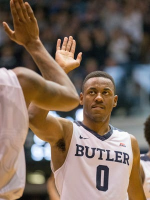 Avery Woodson of Butler, slaps a hand in congratulations near the end of the win, second half, Xavier at Butler, Hinkle Fieldhouse, Indianapolis, Saturday, January 14, 2017. Butler won 83-78 over their ranked opponent.