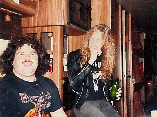 """Metal"" Joe Chimienti, left, and Metallica vocalist-guitarist James Hetfield on the ""Master of Puppets"" tour bus in 1986."