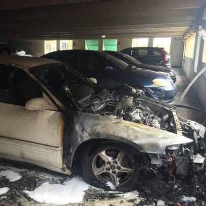 The vehicle that caught fire in Garage F had extensive