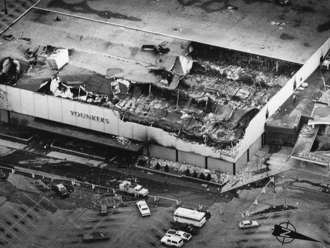 Aftermath of the deadly Younkers fire in 1978 at Merle