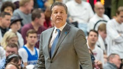 Kentucky coach John Calipari looks on during the second