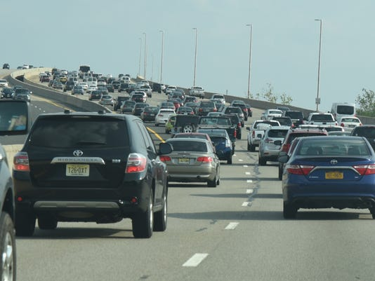 Traffic on the Driscoll Bridge section of the southbound Garden State Parkway as visitors head for the shore.