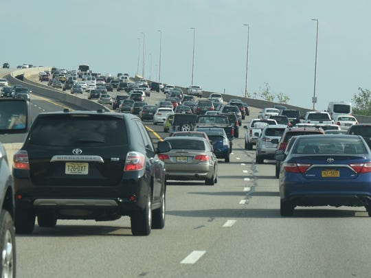 Traffic on the Driscoll Bridge section of the southbound Garden State Parkway as visitors head for the shore during Memorial Day weekend last year.
