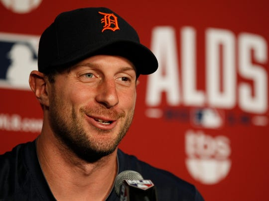 Detroit Tigers pitcher Max Scherzer answers a question Oct. 1, 2014.
