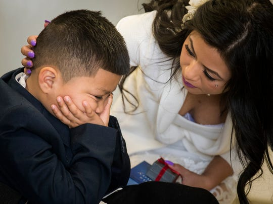 After Sandra Mendoza marries Yancarlos Mendez inside the Morrow County Jail, she comforts her son, Ricky, after she tells him that he will not be able to see his stepfather.