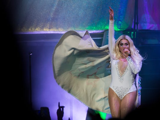 Kesha performs during 'The Adventures of Kesha and Macklemore' tour at Bridgestone Arena on Friday, July 13, 2018, in Nashville, Tenn.