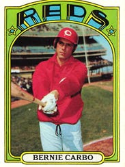 Pictured is a Bernie Carbo trading card from the early-1970s.