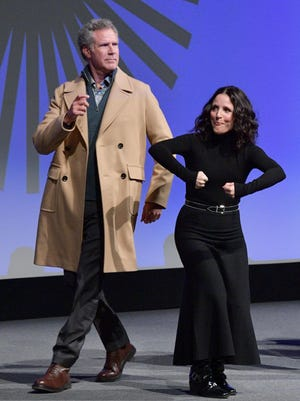 "Will Ferrell, left, and Julia Louis-Dreyfus onstage during the 2020 Sundance Film Festival ""Downhill"" Premiere on Jan. 26, in Park City, Utah."