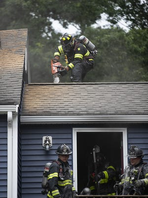 The West Bridgewater fire department responded to a fire in a home at 332 East Street on Monday evening, June 29, 2020. Brockton, Bridgewater and East Bridgewater ladders also responded to the scene, no injuries were reported.