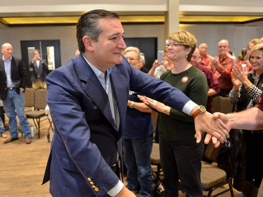 U.S. Sen. Ted Cruz at a campaign event for congressional candidate Chip Roy in New Braunfels on Feb. 10.