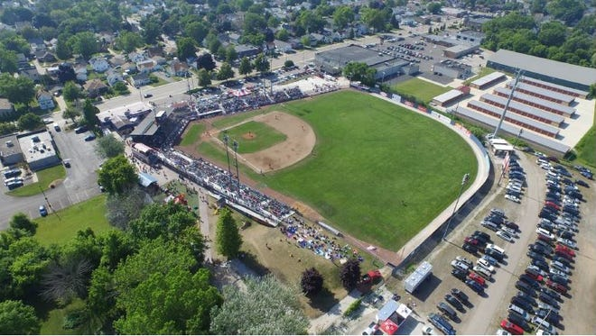 An aerial view of Simmons Field in Kenosha, which was renovated by Big Top Baseball and the City of Kenosha in 2013.