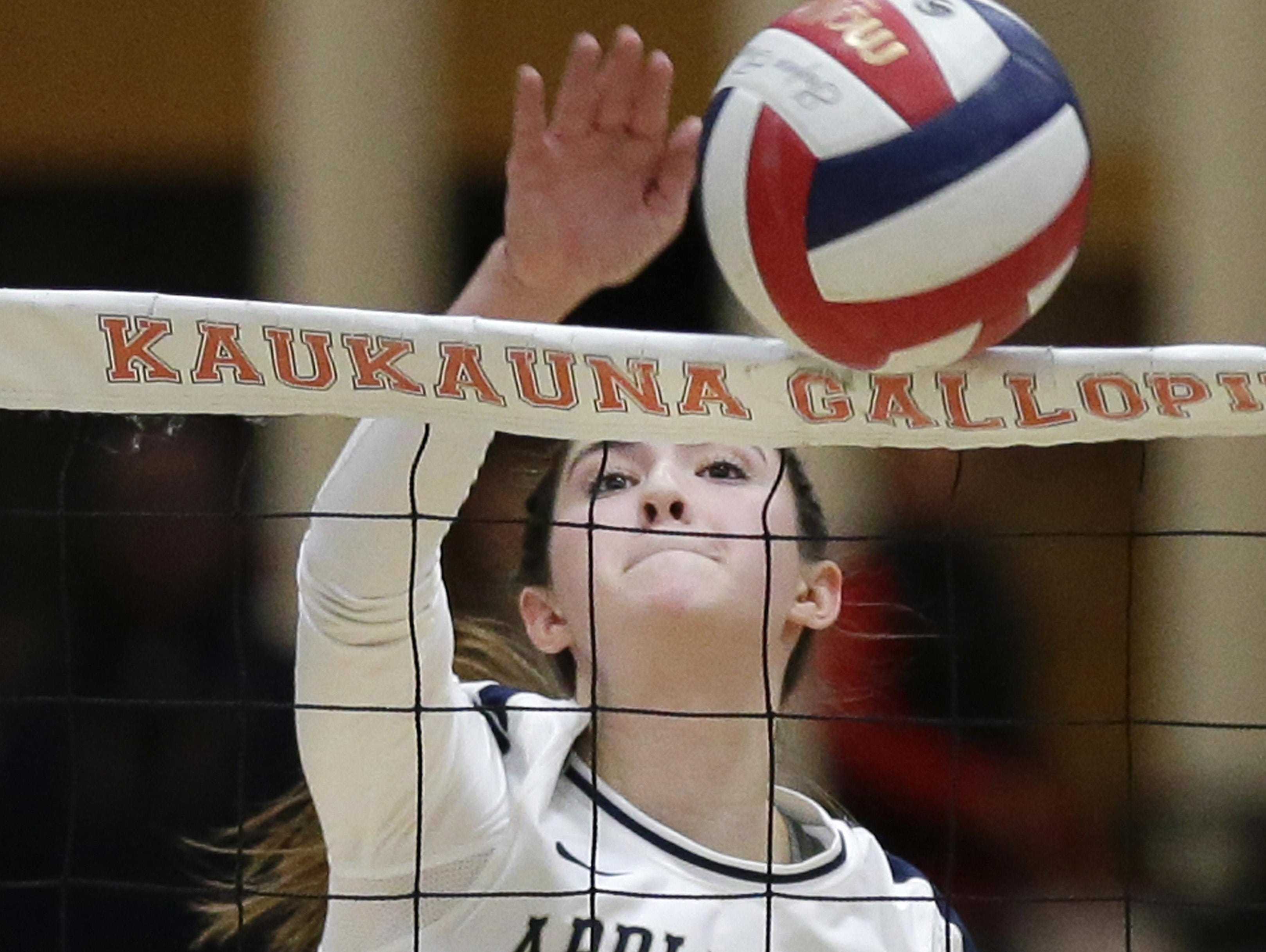 Appleton North High School's No. 4, Amanda Rohrs, plays against Kimberly High School during the WIAA Division 1 girls volleyball sectional semifinal match on Oct. 29 at Kaukauna High School.