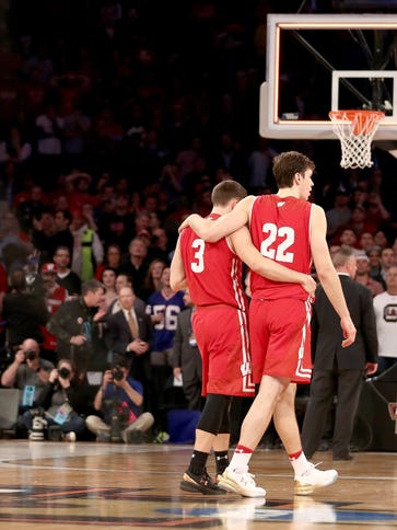 Ethan Happ (left) and Zak Showalter of the Wisconsin