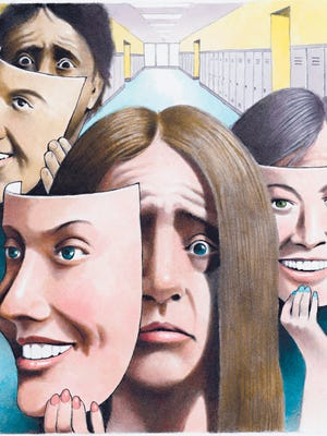 Doug Griswold illustration of stressed teenagers with happy-face masks; designed to accompany a story about rising levels of depression and phobias in high school students. (Doug Griswold/Bay Area News Group/TNS)