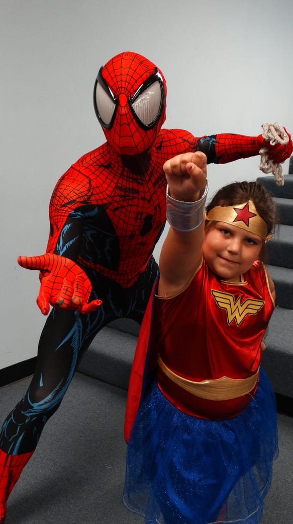 Spider-Man and Wonder Woman at the Dickson County Library