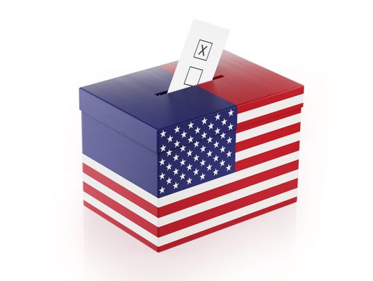 Ballot Box Textured with American Flag