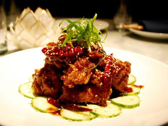 General Tso's chicken at the Tànsuŏ restaurant.