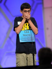 Nathaniel Britton, an eighth-grader at Shelby Junior High School, is making his third appearance in the National Spelling Bee.