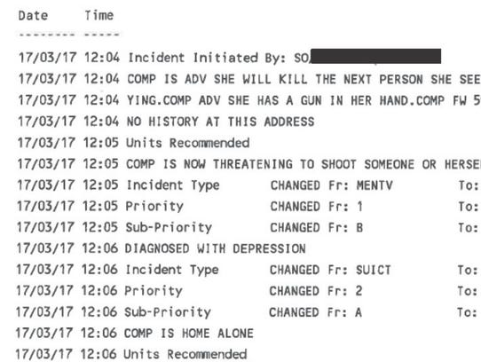 A screen shot from a call log related to the shooting