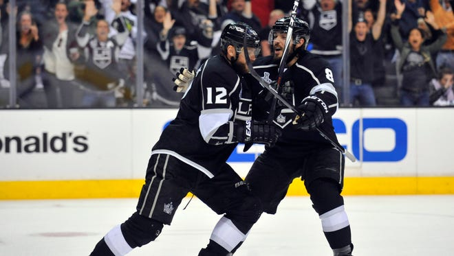 Kings winger Marian Gaborik, left, who tied Game 2, has a league-best 13 goals in the playoffs.