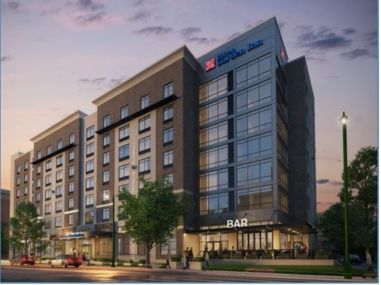 An architectural rendering shows what the Hilton Garden Inn will look like across from AutoZone Park.