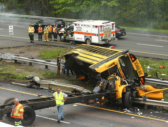 A school bus carrying middle school students from Paramus