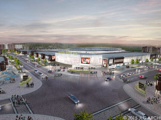 A rendering of the exterior of a 7,000-seat multiuse sports arena in Coralville for the city's proposed Iowa River Landing Reinvestment District.