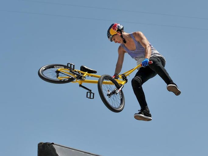 Daniel Dhers of Caracas, Venezuela, competes in the BMX Park Final at Dew Tour Sunday in Ocean City.