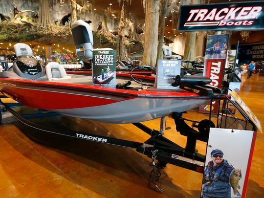 A modified V Hull aluminum bass boat at Bass Pro Shops on Monday, June 18, 2018. This type of boat is designed to cut through the water instead of over it, is fairly short and comes in various lengths and typically has a motor with 60 to 70-horsepower, allowing speeds of 30-35 miles per hour.