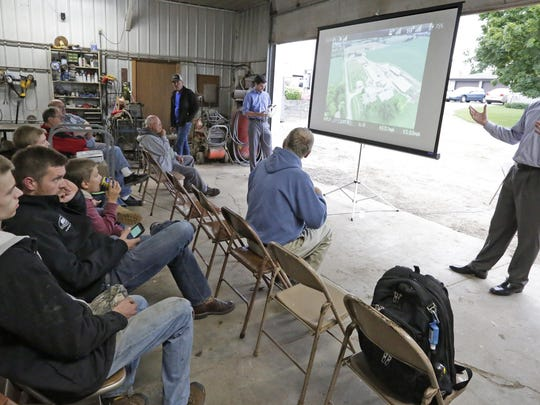 DMZ Aerial's Zach Fiene talks about drones and the rules involving their application at a UW-Extension Sheboygan County meeting Aug. 20 at Sunrise Acres dairy near Hingham.