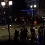 University of West Virginia fans rioted in Morgantown following the Moutaineers' win over Baylor on Saturday.