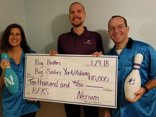 York, PA — On January 29, 2018, Big Brothers Big Sisters of York & Adams Counties was the recipient of $10,000 from Nerium International. The donation was a corporate match for funds raised by local Nerium teams, led by Jen Yost and her husband Dave Fyfe, during a special Bowl for Kids' Sake event. Bowl for Kids' Sake is Big Brothers Big Sisters' largest annual fundraiser, raising over $100,000 a year, and its special Nerium event has raised over $12,000 plus the $10,000 corporate match, for a total of about $22,000, the past two years. submitted photo