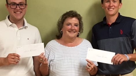 Lodge 210, Loyal Order of Moose,  and Chapter 620, Women of the Moose, awarded their annual scholarships on July 6. From left, scholarship recipient David McIntosh, Canaseraga Central School; Recorder Darlene Krupp; and scholarship winner, Kaden Helmer, Victor Central School.