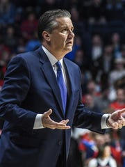 John Calipari reacts to a call during Kentucky's win Tuesday over Ole Miss.