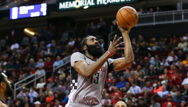 James Harden hit six of the Rockets' record 24 3-pointers.