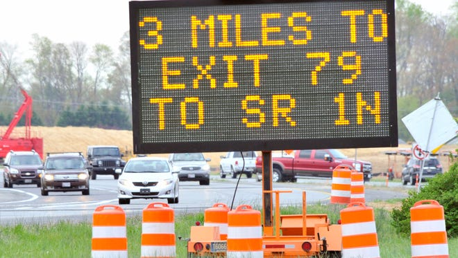 DelDOT sign near Frederica showing motorists traveling southbound on Del. 1 that they have to go three more miles to turn around for the entrance to DE Turf Sports Complex. The entrance can only be accessed from Del.1 north as crossovers will be closed on tournament weekends.