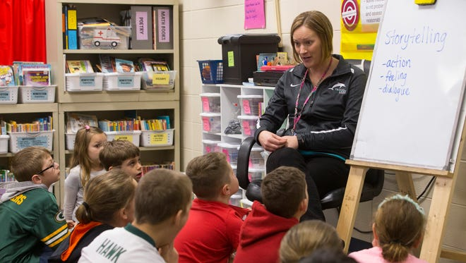 Third-grade teacher Brynn Jakubowski conducts a lesson in storytelling at Friess Lake School in Richfield. Friess Lake School District in Hubertus and the Richfield Joint 1 District in Richfield are going through conversations about consolidating and becoming one district.