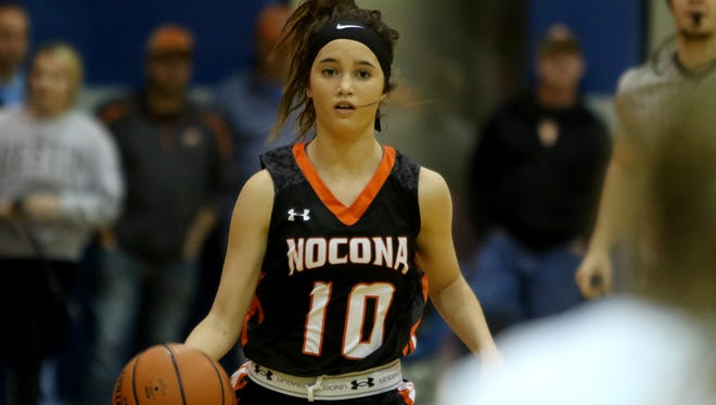 Nocona's Emma Meekins dribbles upcourt in the game against City View Tuesday, Jan. 10, 2017, in City View. Nocona defeated City View 56-37.