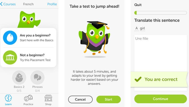 Wow your language teacher with the lessons you'll master in Duolingo. Bueno!