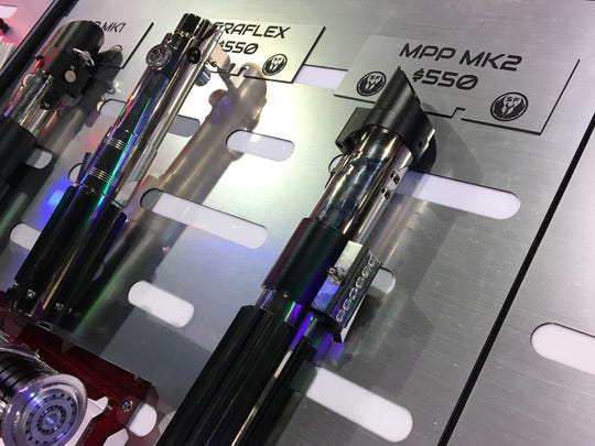 MPP MK2 Lightsaber for $550 from SaberForge at the Exhibitor Hall of Phoenix Comic Fest, Thursday, May 24, 2018.