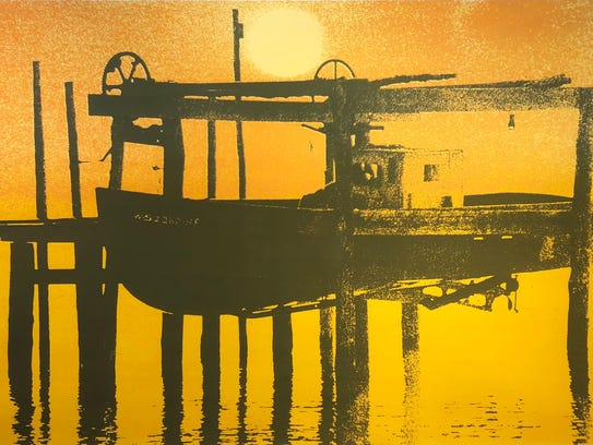 """""""Allies' Boat,"""" serigraph by Albert Quinlan, part of"""