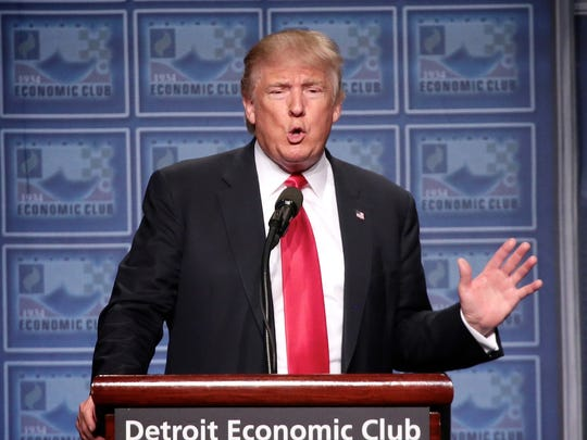 President Donald Trump addressing the Detroit Economic Club during the 2016 campaign.