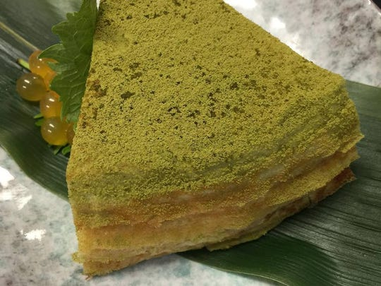 The green tea crepe cake from Zen Asian BBQ in North Naples.