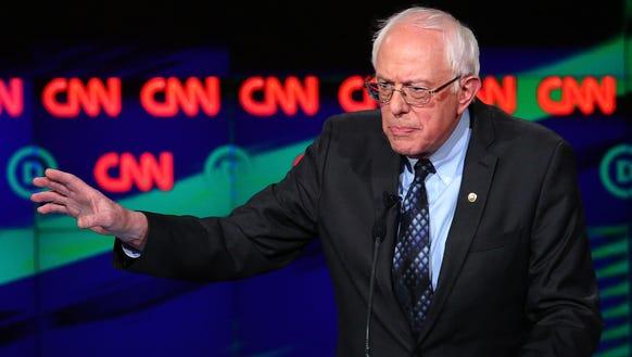 Bernie Sanders speaks during the CNN debate on March