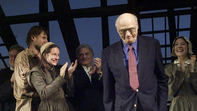 Arthur Miller takes a bow with the cast of Broadway's 2002 revival of 'The Crucible.'
