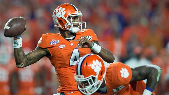Clemson quarterback Deshaun Watson was third in last