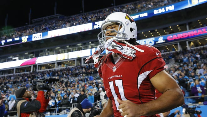 Arizona Cardinals wide receiver Larry Fitzgerald (11) takes the field to face the Carolina Panthers  in the NFC championship game Sunday, Jan. 24, 2016 Charlotte, NC
