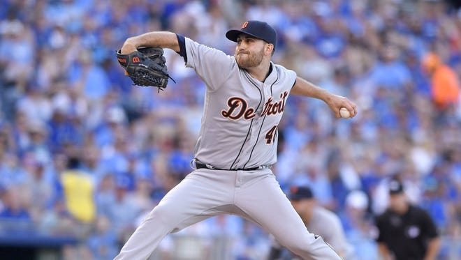 Detroit Tigers pitcher Matt Boyd throws in the first inning against the Kansas City Royals at Kauffman Stadium in Kansas City, Mo., on Saturday, June 18, 2016.